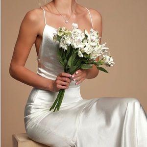 White Satin Cowl Neck Maxi Dress Size Small